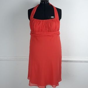 DAVID'S BRIDAL ORANGE HALTER EVENING DRESS SIZE 18